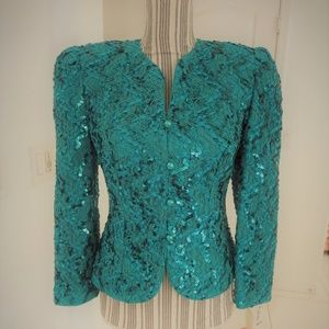 New Vintage Teal Sequin 80s Fitted Jacket Nah Nah
